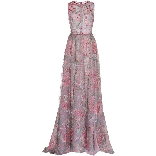 Georges Hobeika Floral Gown (205.615 RUB) ❤ liked on Polyvore featuring dresses, gowns, gown, long dresses, floral, floral embroidered gown, purple ball gowns, embroidered gown, purple floral dresses and tulle gown
