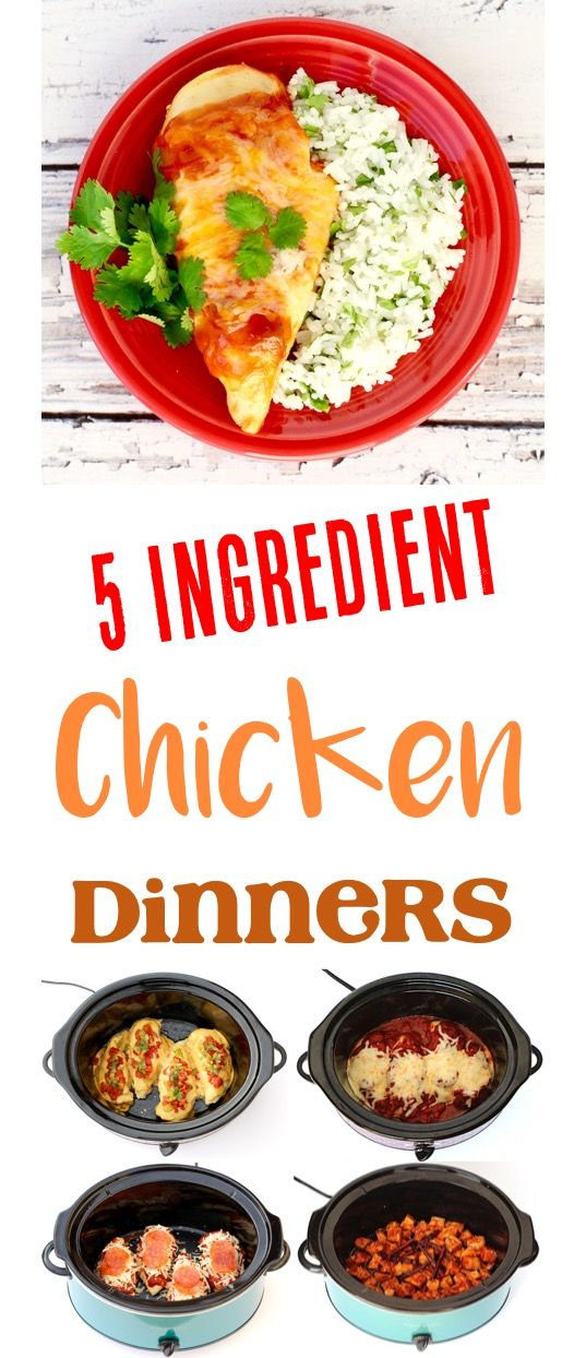 Chicken Dinner Recipes the Family will love!  61 EASY 5 Ingredient or Less dinners that have been kid-approved!  Perfect for those busy weeknights! | TheFrugalGirls.com