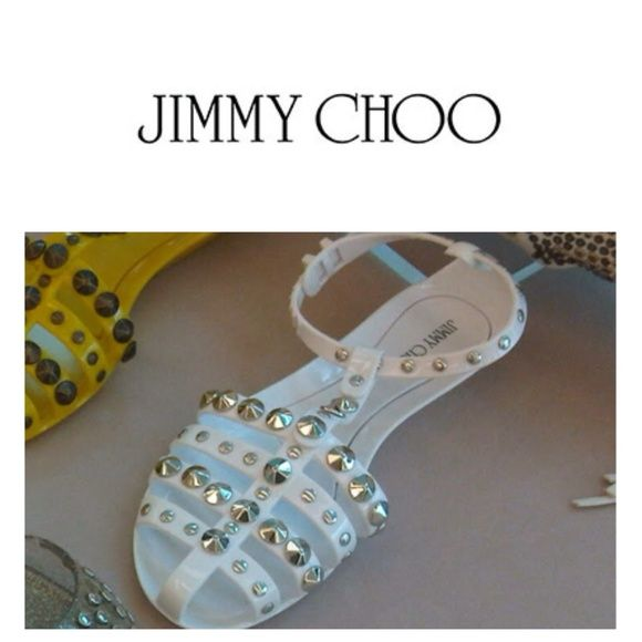 "JIMMY CHOO JELLY GLADIATOR  STUDDED FLAT SANDALS JIMMY CHOO JELLY GLADIATOR SANDALS. 100% AUTHENTIC MADE IN ITALY SIZE 7  . WHITE  GLADIATOR SANDALS WITH BRASS STUDS FLATS HEEL 1cm/1""  , FOUR STRAPS ACROSS THE FOOT ,BUCKLE FASTENING ANKLE STRAP COMES WITH THE ORIGINAL BAG. I only  have it in white I want to make that clear Jimmy Choo Shoes Sandals"
