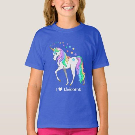 Colorful Rainbow Unicorn and Stars T-Shirt #rainbow #kids #clothing