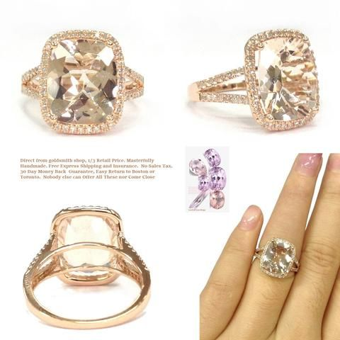 Cushion Morganite Engagement Ring Pave Diamond Wedding14K Rose Gold Split Shank10x12mm