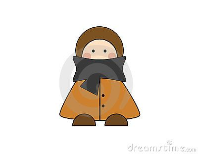 Boy in winter clothes, isolated