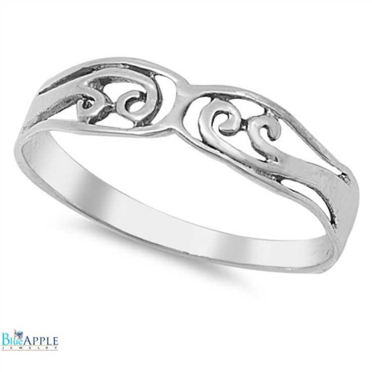 Petite Dainty Simple Plain Filigree Band Ring Solid 925 Sterling Silver Fashion Wedding Engagement Anniversary Filigree Design Band S 4-16