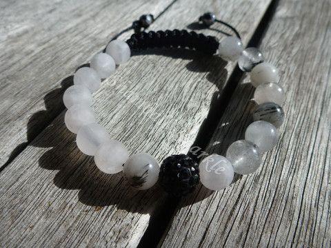Yin Yang Rutilated Quartz and Matte Rose Quartz Shamballa Bracelet