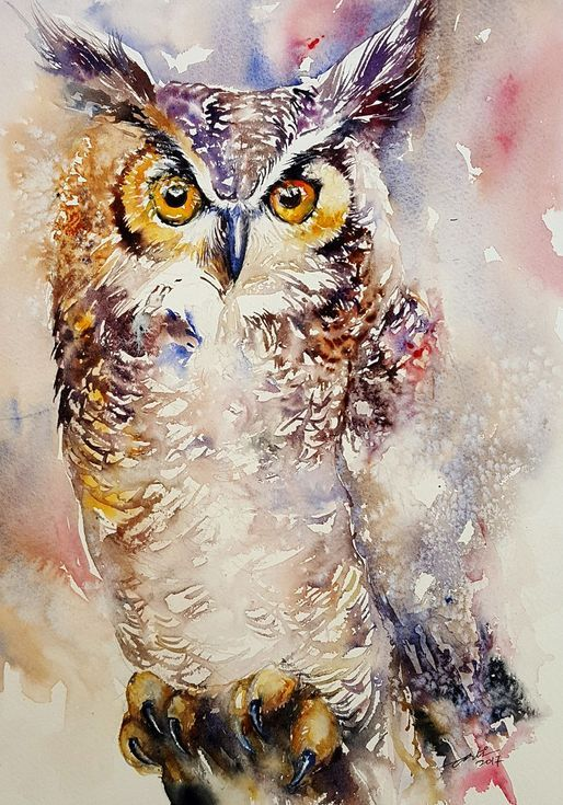 Buy Glenn_ Great Horned Owl, Watercolor by Arti Chauhan on Artfinder. Discover thousands of other original paintings, prints, sculptures and photography from independent artists.