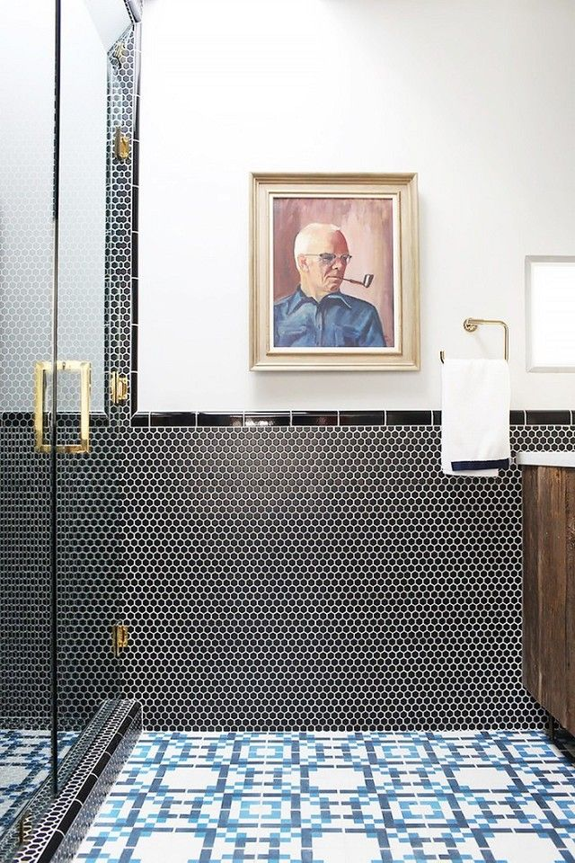 Picture Gallery For Website Bathroom with mixed tiles and modern art