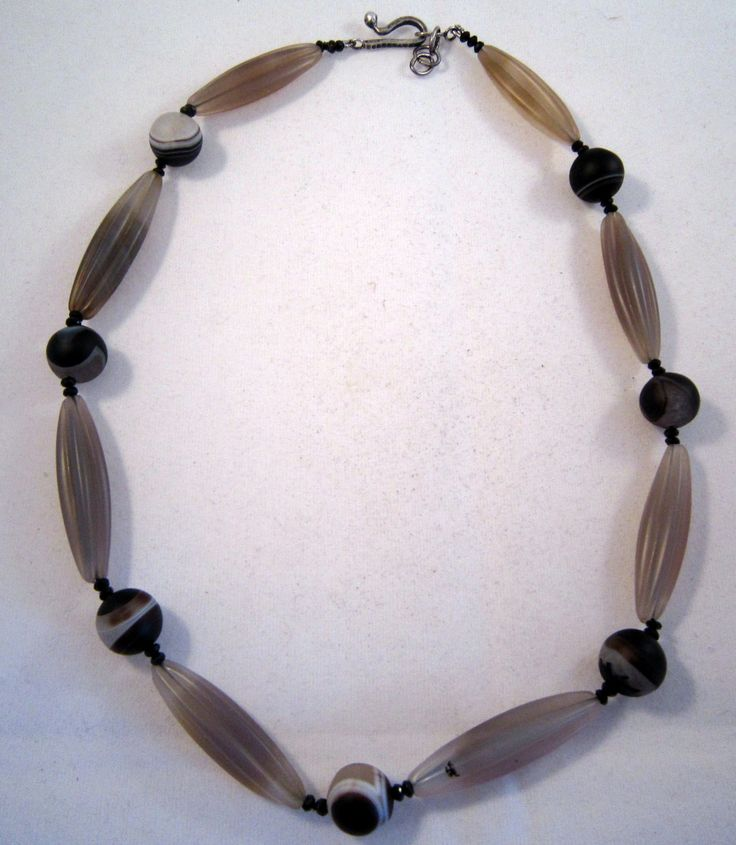 Agates and spinel necklace with silver clasp by kochiokada on Etsy