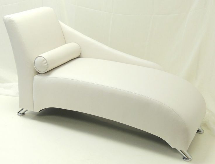 WHITE FAUX LEATHER SOPHIE CHAISE LONGUE WITH CHROME LEGS