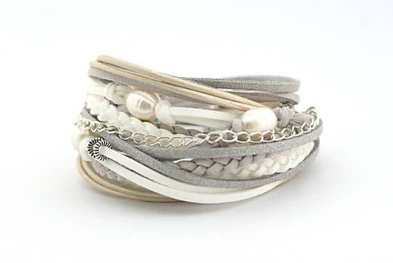 Freshwater pearl Bracelet Gray White Silver Wrap Bracelet
