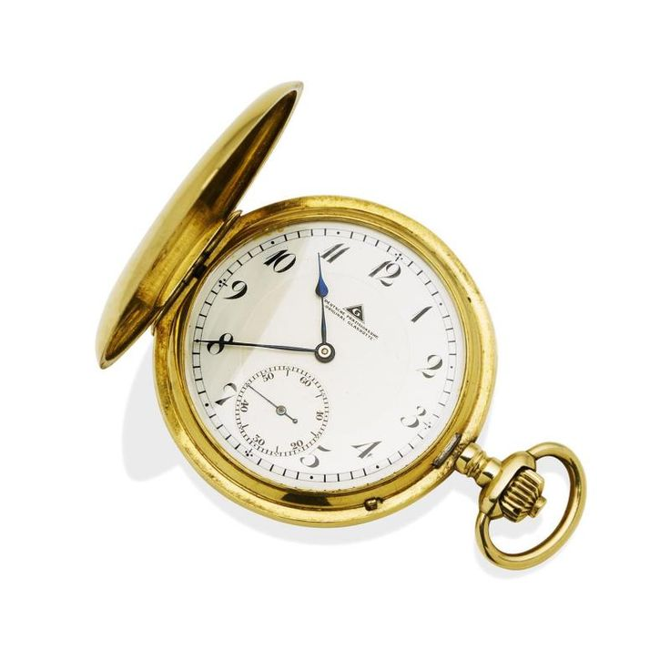 """A Gentleman's gold hunter pocket watch, Deutsche Prazisionsuhr, """"Original Glashutte"""" 50mm. Crown wind. Movement number 202350. White dial, painted black Arabic numerals and subidiary seconds. Case, movement and dial signed. Plain polished case. 18ct yellow gold. Total weight 97.33 grams. - Price Estimate: $3000 - $4000"""