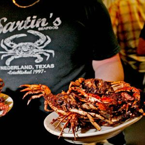"""Sartin's """"Barbecued"""" Crabs Recipe - The cooks at Sartin's Seafood, a popular restaurant in Nederland, in southeastern Texas, dust their crabs with their famed Cajun-style seasoning and deep-fry them.- Saveur.com"""
