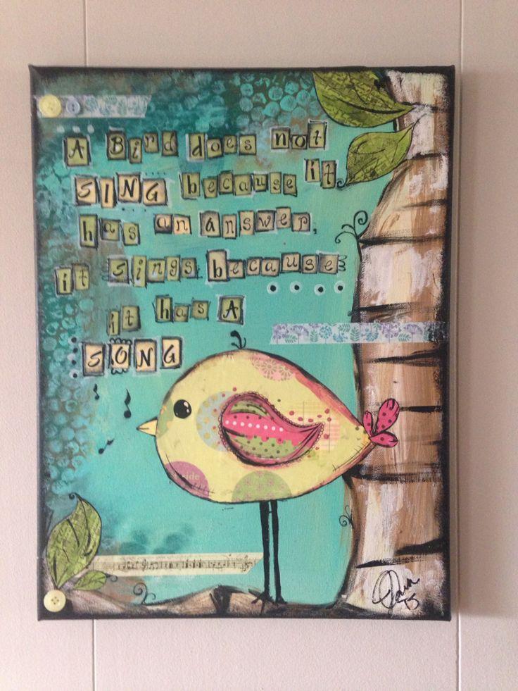 #mixedmedia #collage #bird #littlebird #perfectlyimperfectdesigns