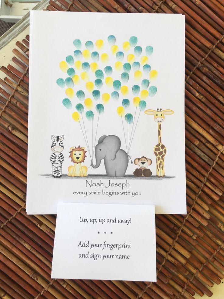 Customizable jungle safari animal Thumb print balloon guest book with zebra, giraffe, monkey, lion, and elephant, boy baby shower thumbprint - pinned by pin4etsy.com