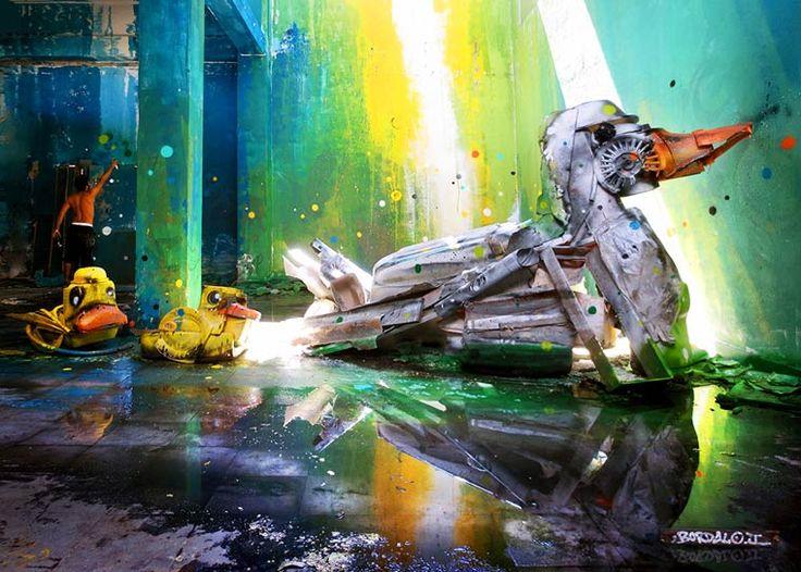 """Le street artist portugaisArtur Bordalo, aka Bordalo II, dont nousavions déjà parléavec """"Quandun street artist s'amuse avec les voies ferrées"""", re"""