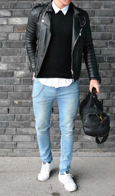 style in leather // mens fashion // gymbag // gym day // casual day // urban men // fitness //