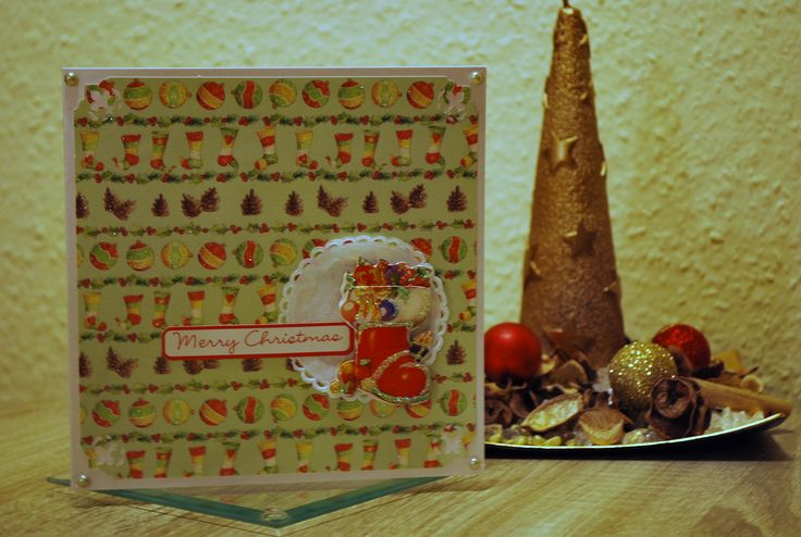 Easy to make handmade Christmas card with stockings all over it!