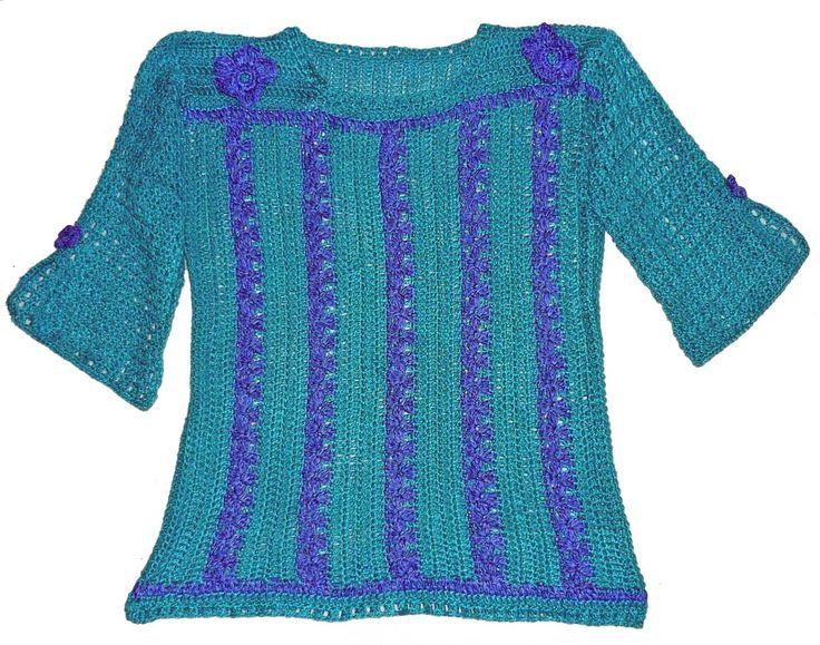 Blusa manga larga tejida a crochet en hilos de colores turquesa y azul matizado, Talla M