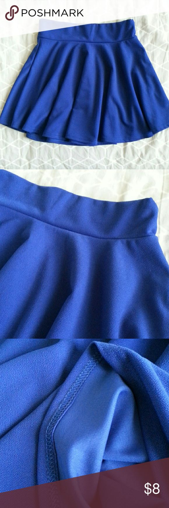 Bright Cobalt Blue Skater Skirt Elastic Waist XS S Beautiful blue color, never worn new without tags  Waist measures 24 inches unstretched and 28 inches stretched  Length is 14 inches  Let me know if you have any questions or need any measurements!   Not F21 from a similar shop Forever 21 Skirts Circle & Skater
