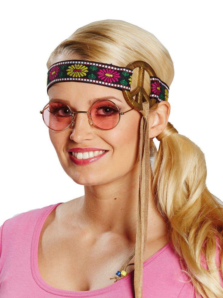"""Hippie Stirnband Peace-Zeichen braun-bunt. Aus der Kategorie Karneval Zubehör / Karneval Kostümzubehör. Dieser jungen Dame scheint der Begriff """"Flower Power"""" wirklich zu Kopf gestiegen zu sein!"""