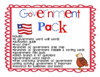 This social studies pack includes graphic organizers, formats, and activities to work with the concepts of the United States government. They are p...