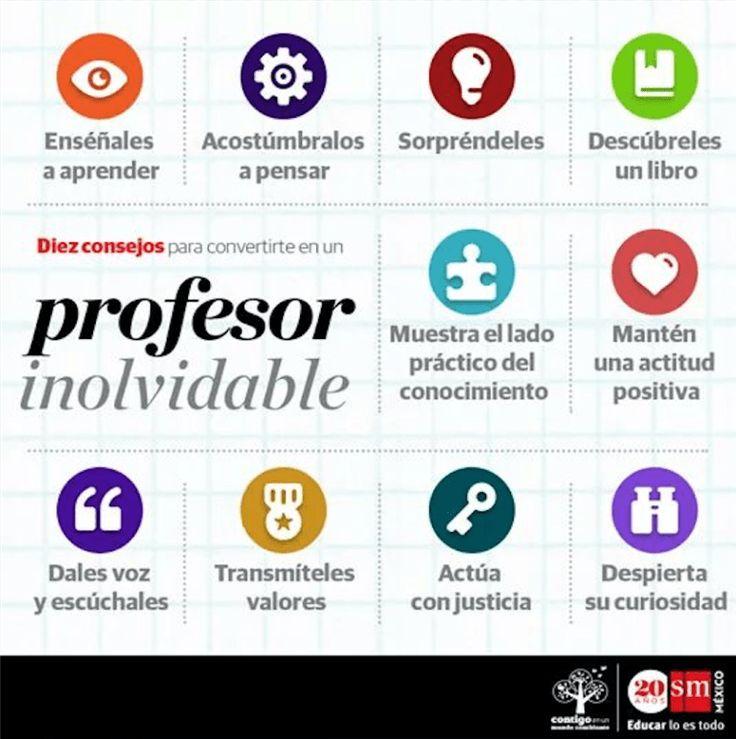 """Hola: Compartimos una interesante infografía sobre """"10 Conductas de un Gran Profesor"""" Un gran saludo.  Visto en: pinterest.com  También debería revisar: 10 Cualidades del Bu…"""