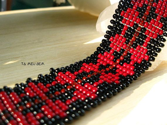 Red Black Beaded Choker  Brick. Red Beaded Choker