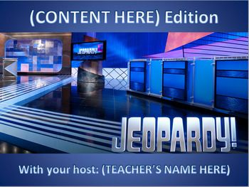 This Jeopardy Review Game is complete with images and sound files.  I use this template for a variety of specific content review games in my classroom throughout the year.  Hyperlinks are used to navigate through the game and notify the teacher/host which questions have already been used.