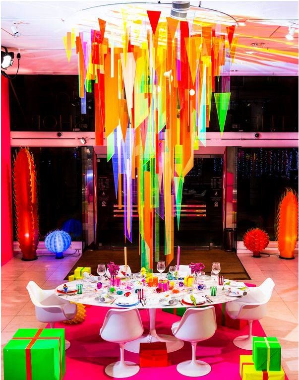 Fun riot of neon colour and inspiring theatrical Perspex® decorations at The Conran Shop http://follylondon.com/jingle-bells/
