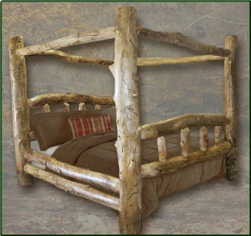 king size classic aspen canopy log bed the good timber