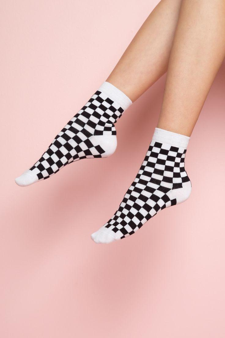 Black and White Checkered Socks
