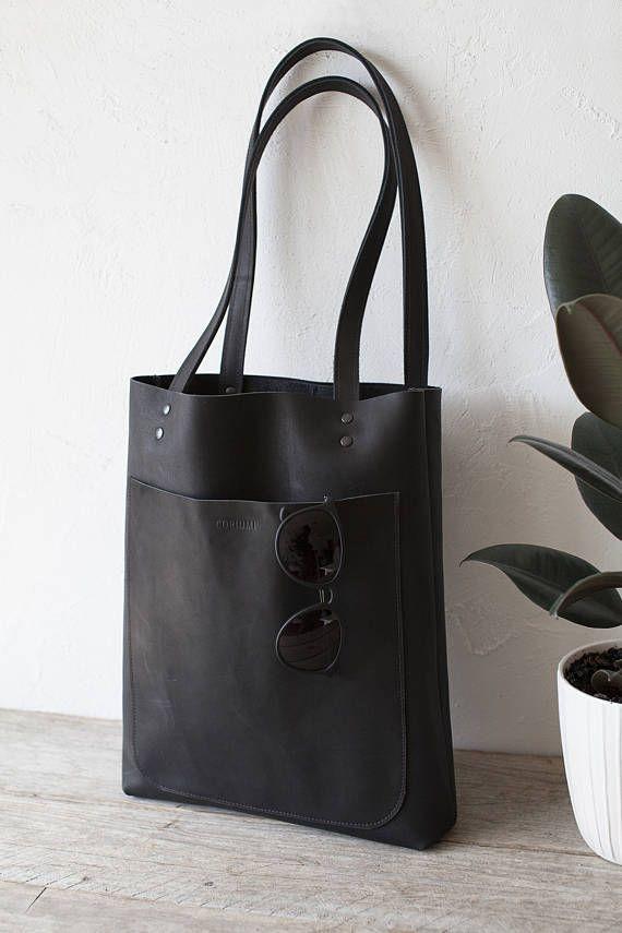 Black Matte Leather Tote bag, black leather bag, front pocket bag, shopped bag, school tote