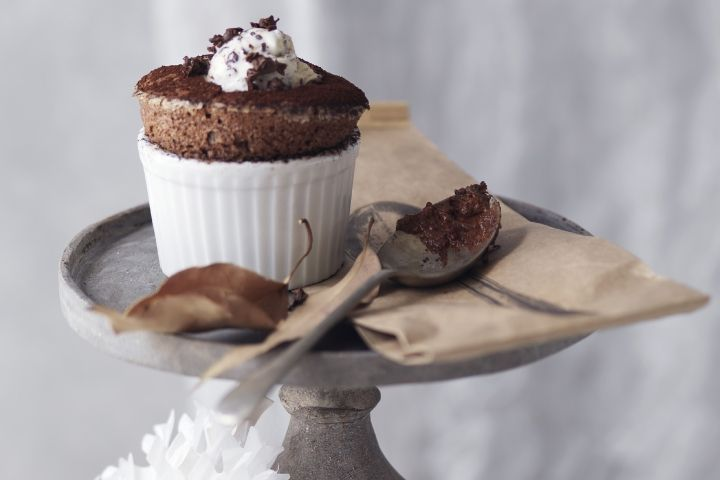 Dark Chocolate Souffles by Gary Mehigan of Masterchef Australia Serves 6, prep time 15 minutes, cook time 15 minutes