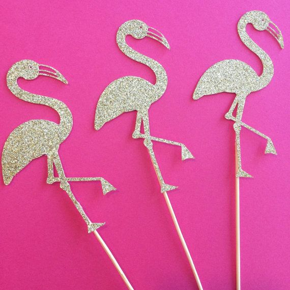 Gold Flamingo Cupcake toppers Cupcake by sprinkledwithpaper