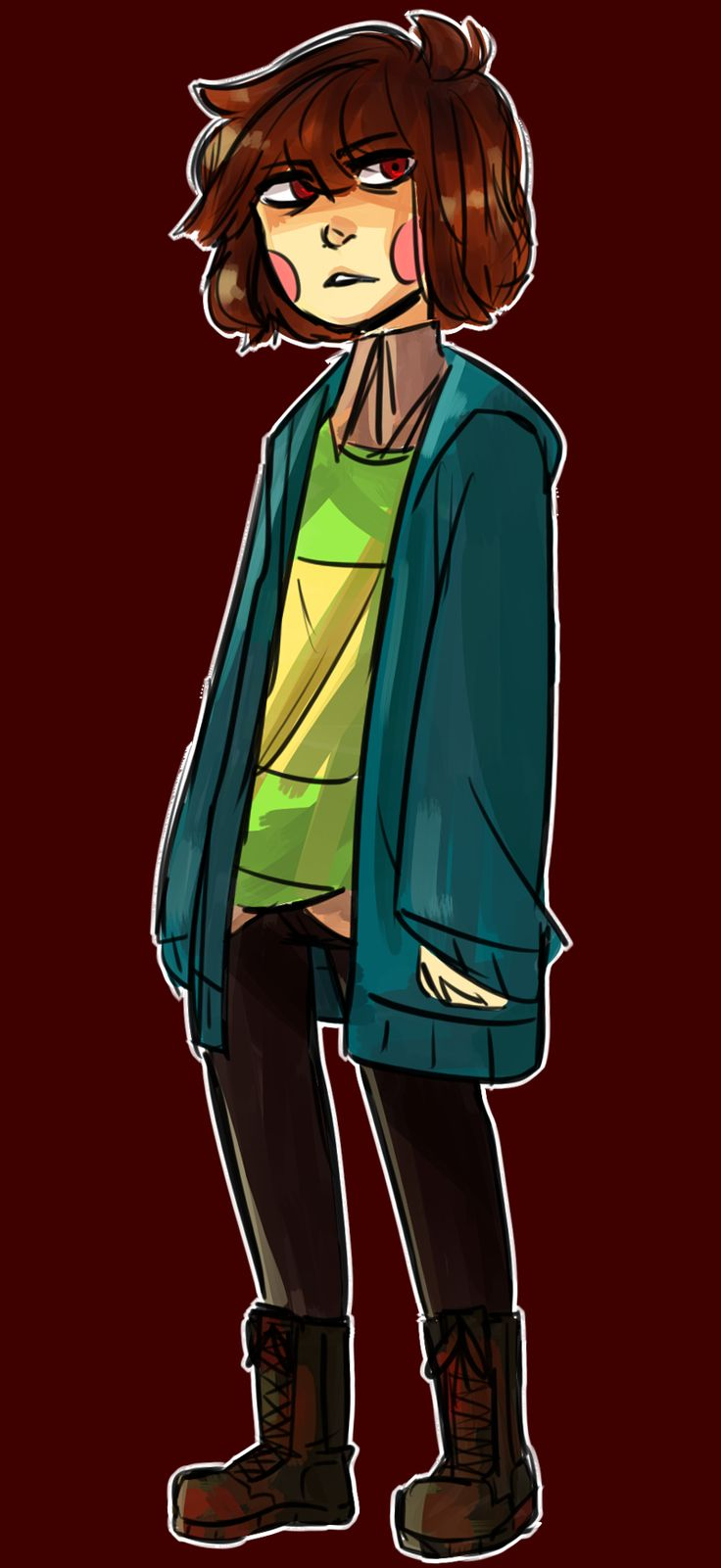 Chara (I like that this drawing is a boy, not a lot of people draw Chara as a boy)