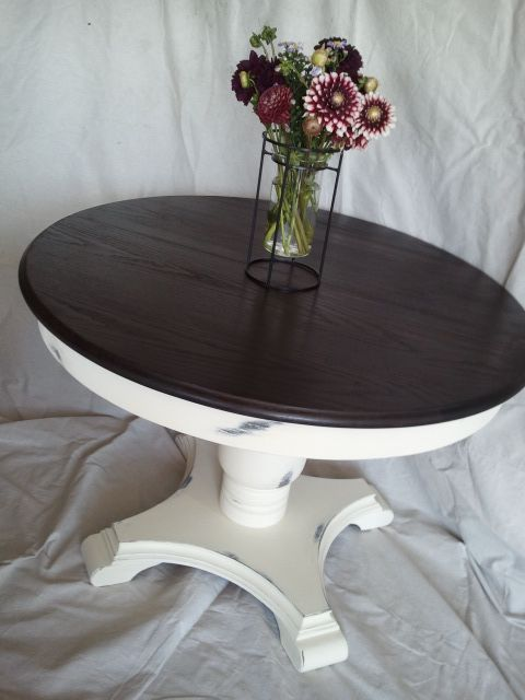 I wish I had more time and more muscle to move, stage, and snap photos of my pieces, but at this time I just work with what I have! Here is a beautiful solid wood round dining table. I see A LOT of...