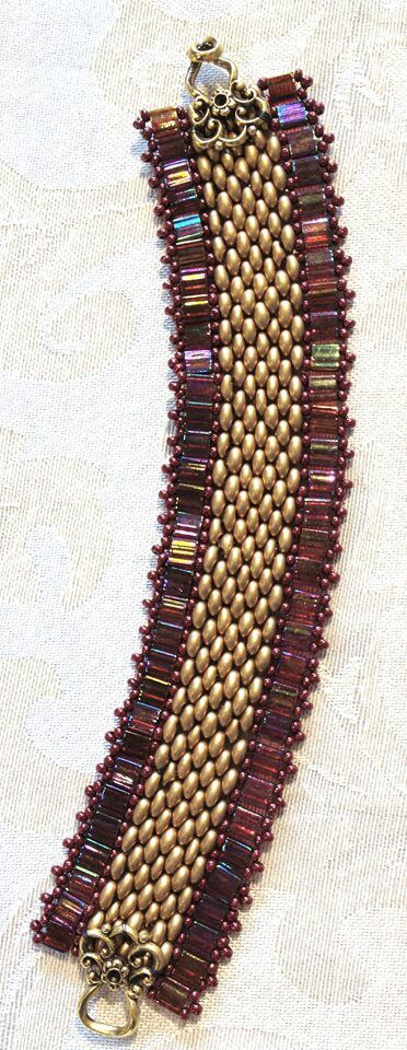 Cool bracelet using tila and super duo beads! I want to learn how to make this! (Location: Bella Beads Hawaii)