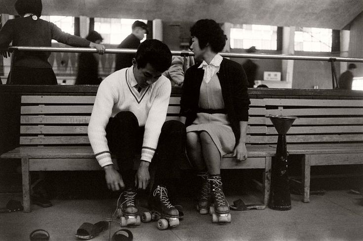 Nohito Mukai and his girlfriend, Hiroko Inayaki, go roller skating on a date in Tokyo. March 1959.