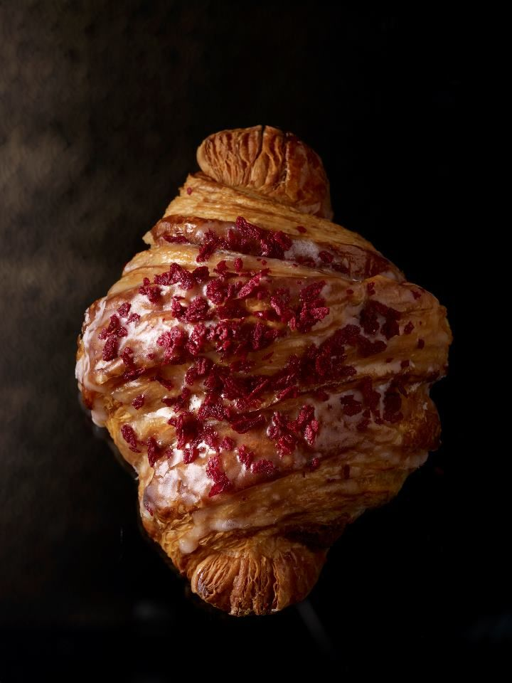 Pierre Hermé Croissant Ispahan | Buttery-rich puff pastry, rose-flavoured almond paste, raspberry compote.