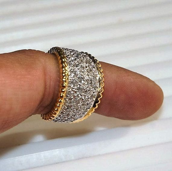 Sale! Retro Handmade 3ct White Pave Diamond Wedding Engagement Eternity Cigar Band Wide Ring 14k Solid Gold Two Tone Sz 5