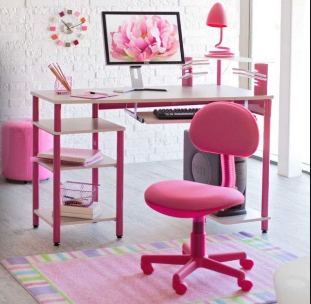 furniture cute computer desk design with marvelous white pink rectangular office desk plus pink desk lamp and comfortable pink wheels office chair also
