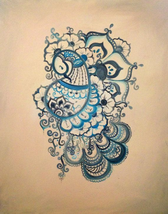 Buddhist Henna-inspired Peacock Painting | Alex Behn on Etsy #henna #buddhism #peacock #painting