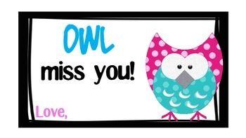 END OF THE YEAR OWL MISS YOU GIFT TAGS - TeachersPayTeachers.com