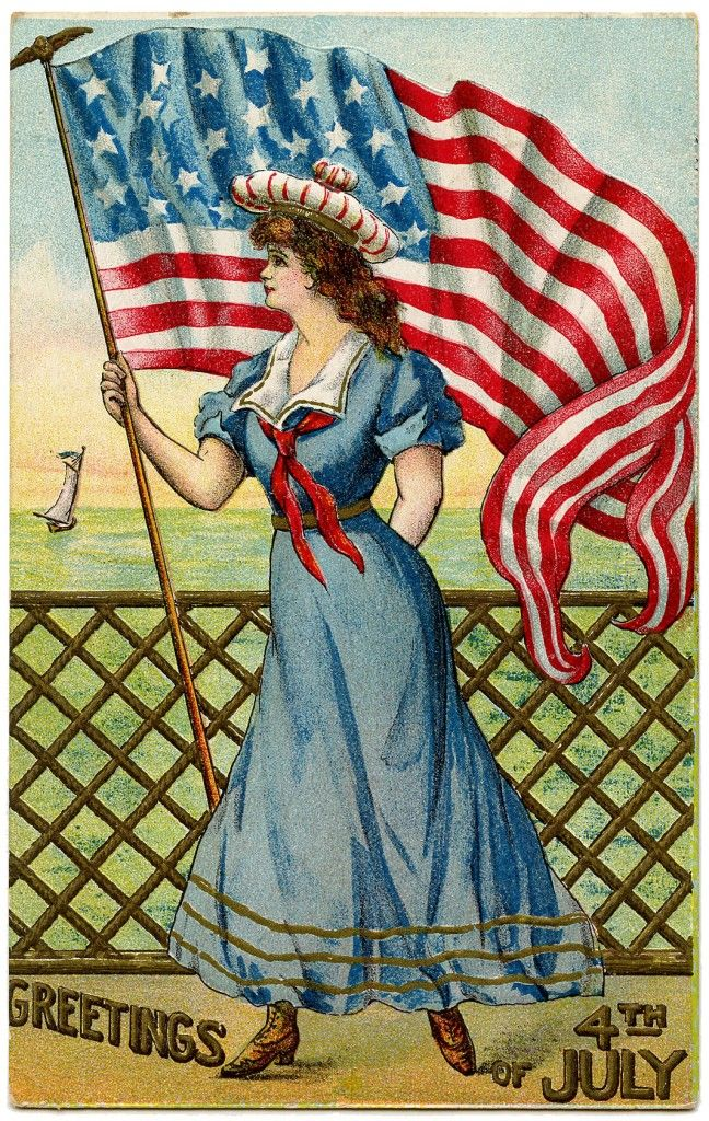 Vintage Patriotic Image - 4th of July - Sailor Girl - The Graphics Fairy