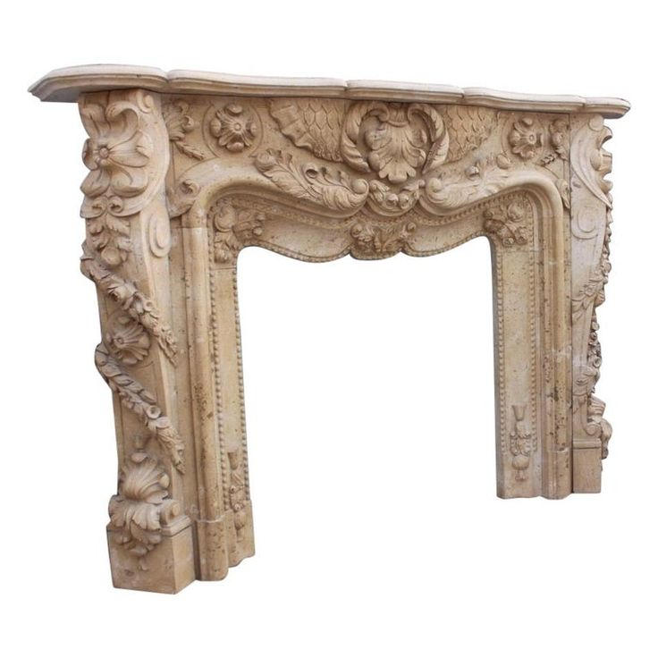 Heavily Carved Cream Marble Fireplace