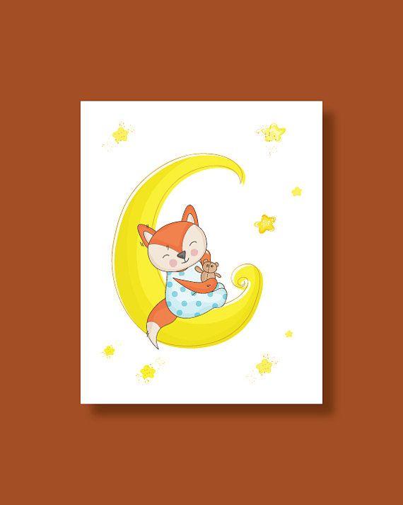 Fox Nursery Art Print  Baby Fox Moon Sleeping  by HappyLittleBeans