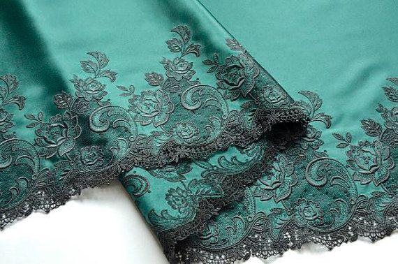 Extra breite dunkle Grün Satin Trim, Royal dunkel grün bestickt Satin, grüne Satin-Stoff, Holiday Lace Handwerk, Dessous, historischen Kostüm