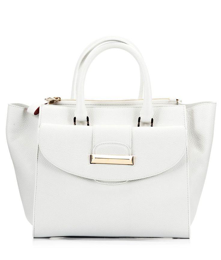 Ballin White martellato leather trapeze tote bag #handbag