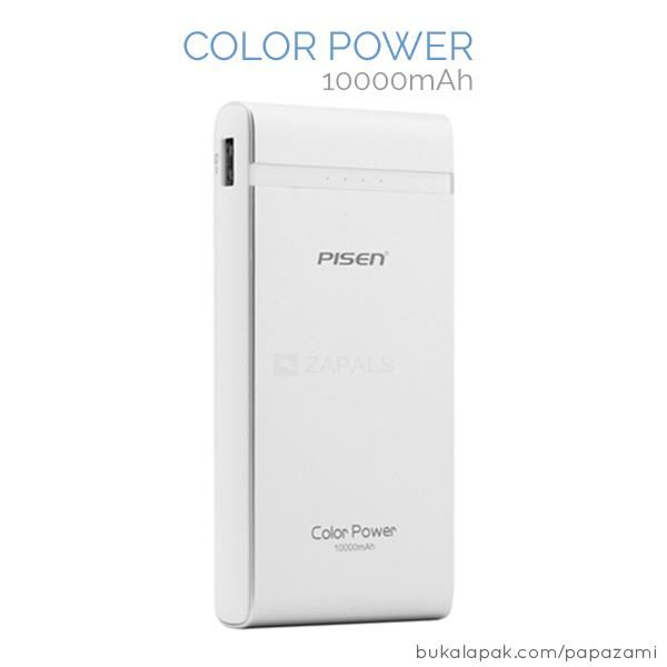 Pisen Color Power 10000mAh  Brand: PISEN Type: Polymer  Battery Power Bank Model:BoCai-10000mah Capacity:10000 mAH Weight:240g Output:5V,1A / 2A(Automatically Matching) Dimension:135.5*66*17mm Features: Fast Charging:Yes Overheating Protection:Yes Short-Circuit Protection:Yes Battery Full Protection:Yes Overpower Protection:Yes  18 months warranty