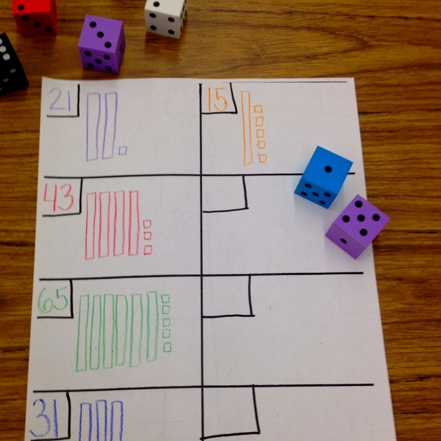 Math center idea for tens and ones. use foam dice so they don't make any noise. Student rolls 2 dice. The 1st number is for the tens place and the 2nd one is for the ones place. If they roll a 6 and 4 they write down 64 and then they draw the picture. You can add more dice for larger numbers.