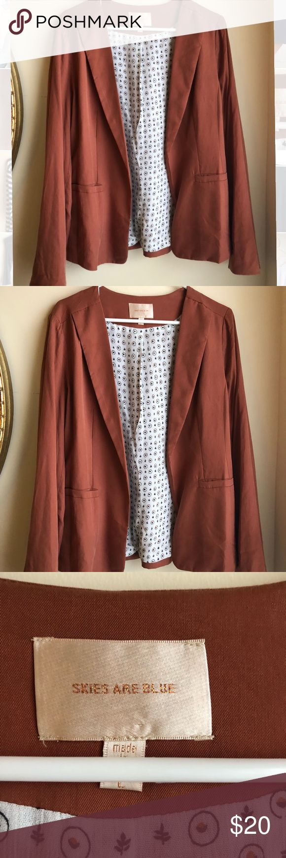 LAST CHANCE 24 Hr Sale Orange Blazer In perfect condition Burnt orange color - perfect for spring Fits true to size **first picture to show style Skies Are Blue Jackets & Coats Blazers